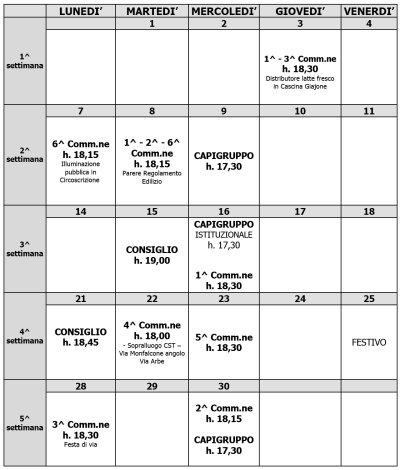 Calendario commissioni del mese di aprile 2008